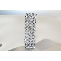Bracelet cristal  Swarovski large manchette comet argent light 2x