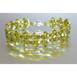 Bracelet cristal Swarovski large manchette olivine ab fermoir aimant