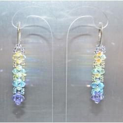 Boucles d'oreille cristal de Swarovski sur dormeuse argent 925 kaki ab