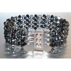 Bracelet cristal  Swarovski fermoir strass manchette hématite 2x