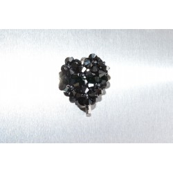 Broche cristal de Swarovski ravissant coeur hématite 2x